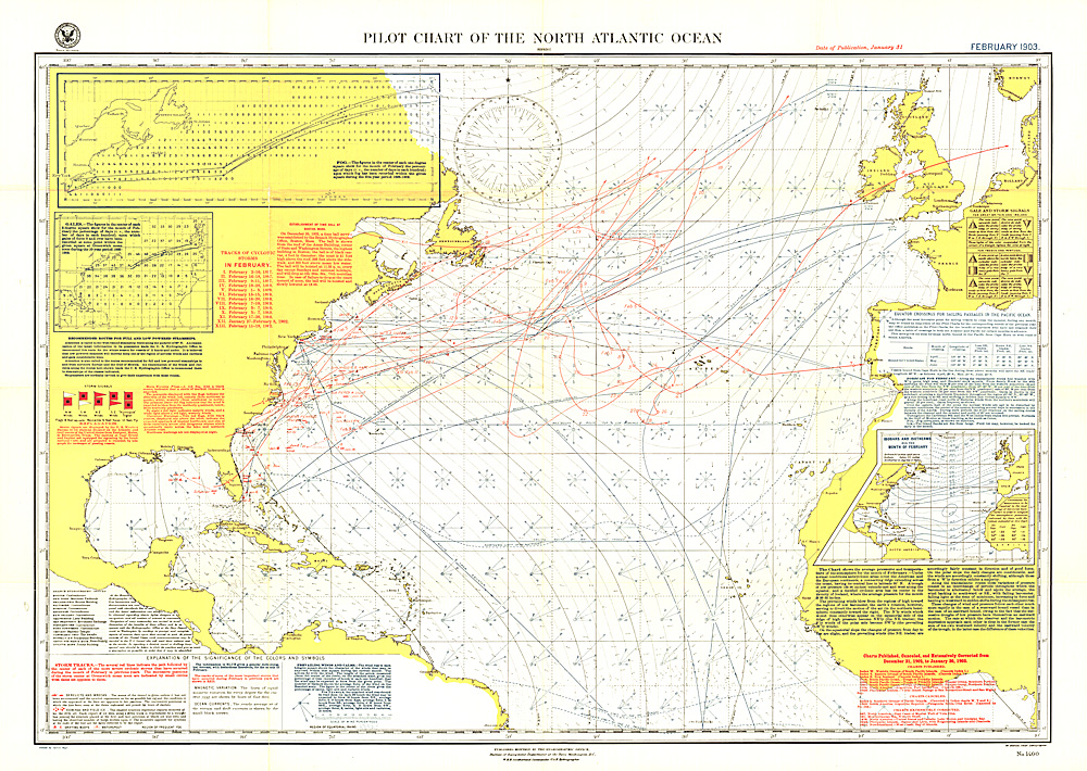 Pilot Chart Of The North Atlantic Ocean Map - Usa map with oceans