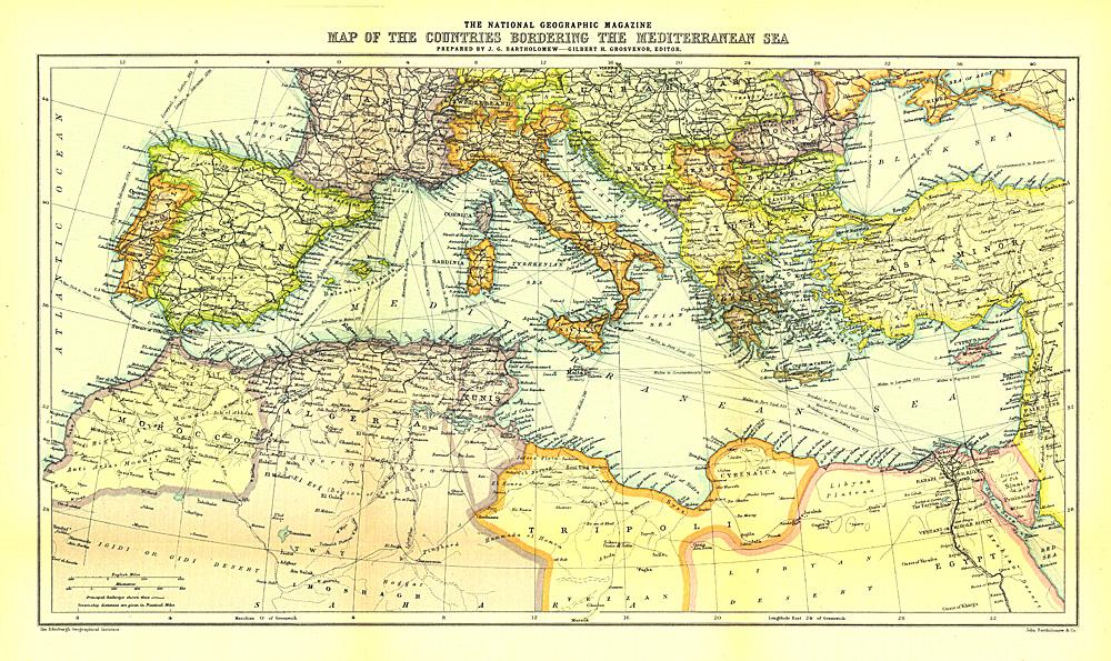 Bordering the Mediterranean Sea Map