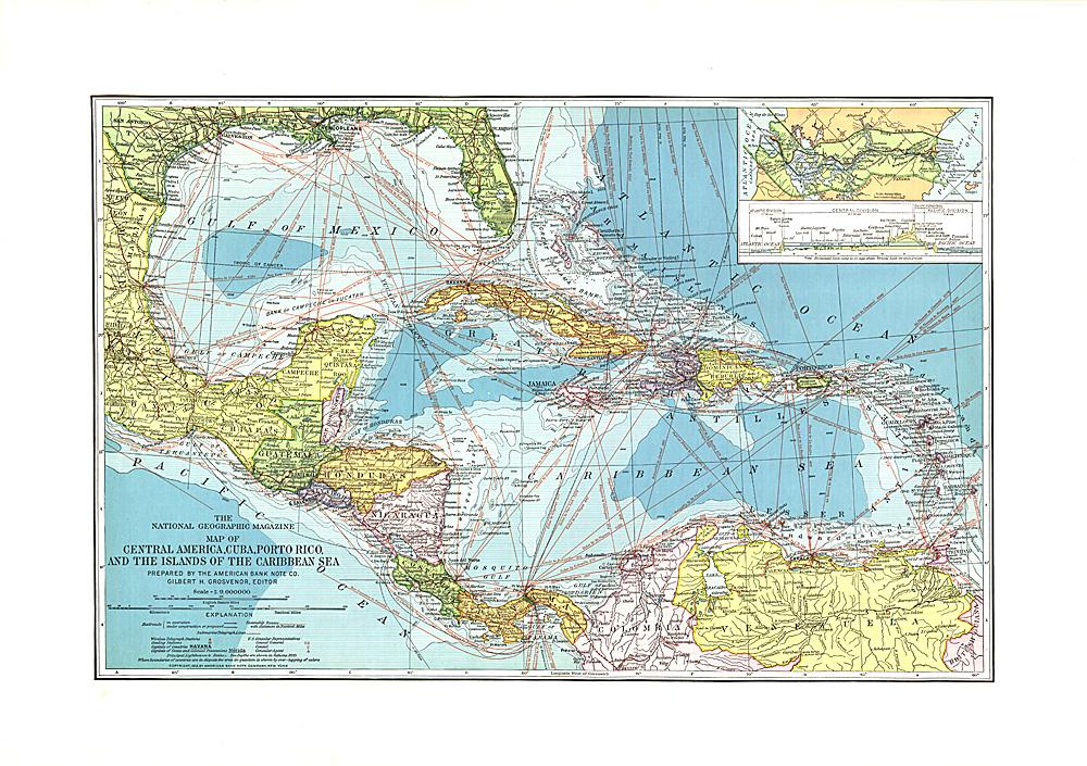 Central America Cuba Porto Rico And The Islands Of The - Caribbean sea map