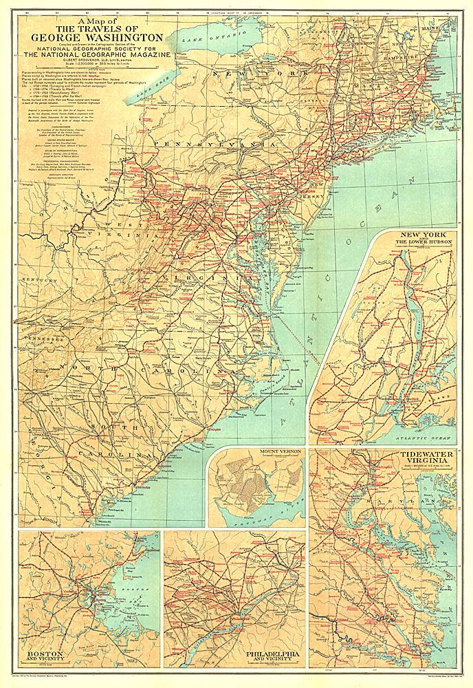 Travels Of George Washington Map - Washington map