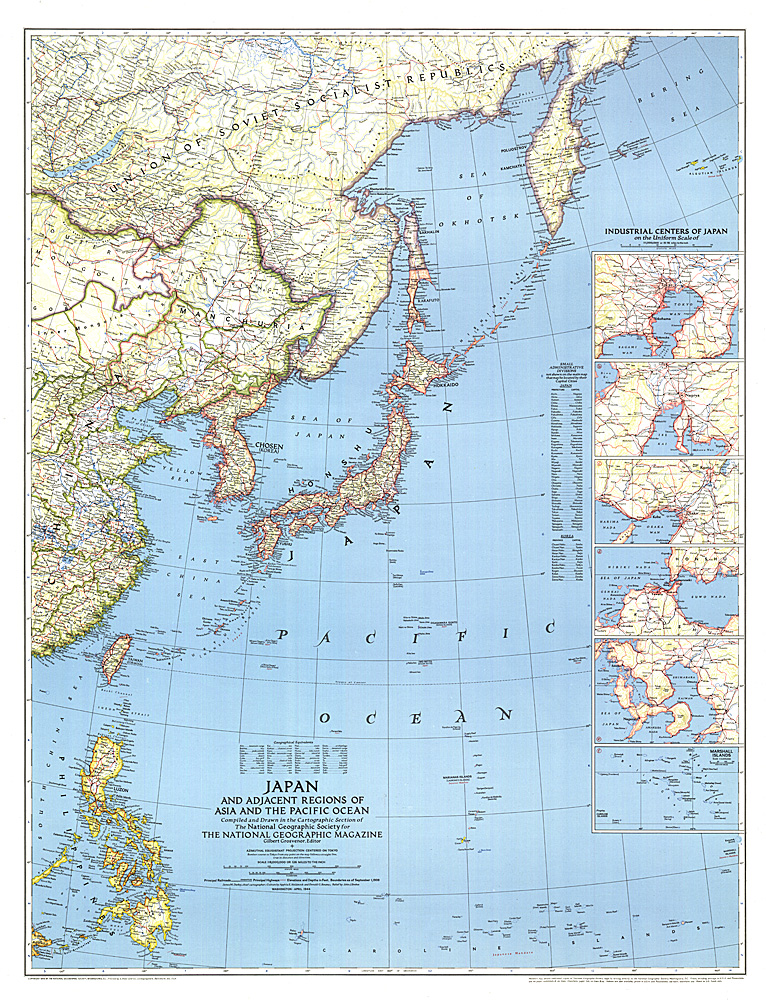 Japan And Adjacent Regions Of Asia And The Pacific Ocean Map - Japan map 1945