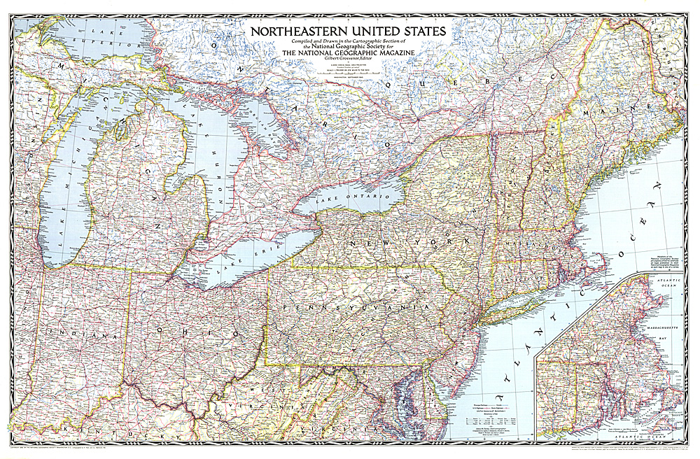 Northeastern United States - Ographic map us