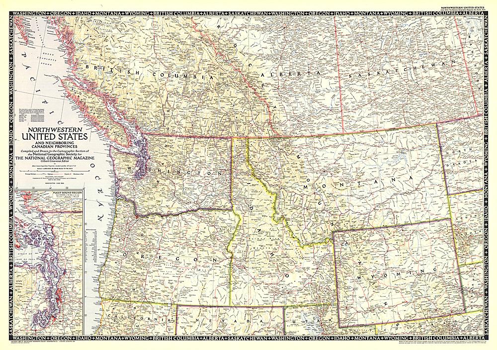 Northwestern United States and Canadian Provinces Map