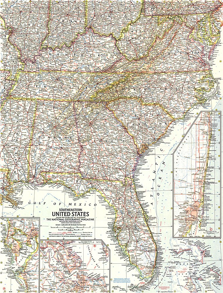 Southeastern United States Map - Usa road atlas