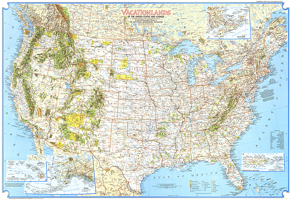 Vacationlands Of The United States And Canada Map - United states and canada map