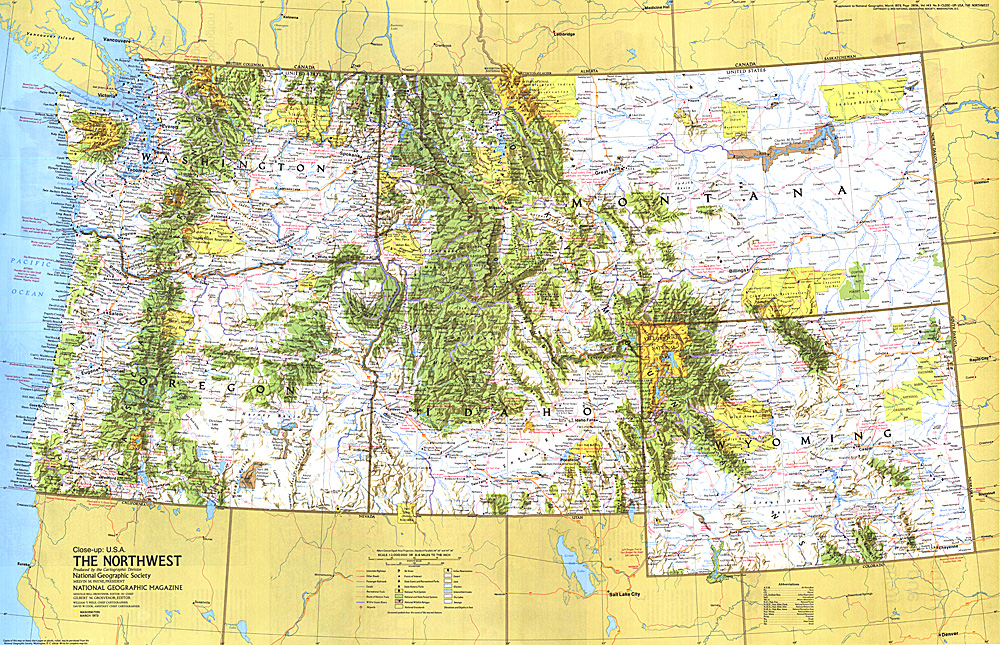 Closeup USA Northwest Map - Photo of usa map
