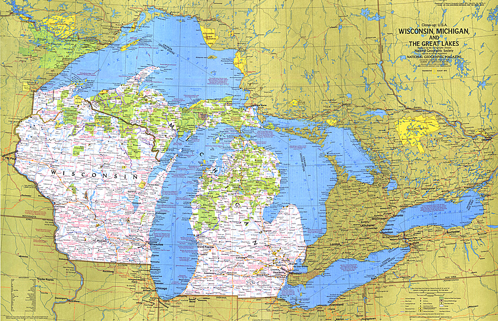 Closeup USA Wisconsin Michigan And The Great Lakes Map - Wisconsin map usa