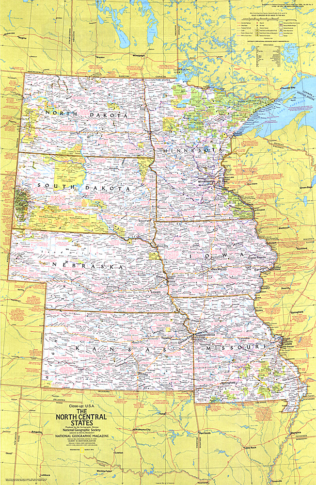 Closeup Usa North Central States Map: Map Of The North Central Usa At Usa Maps