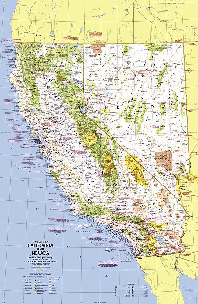 Close up USA, California and Nevada Map