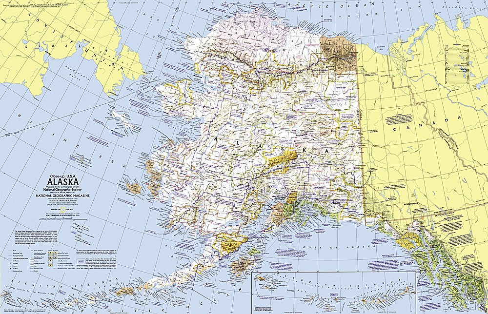 Closeup USA Alaska Map - Us map and alaska