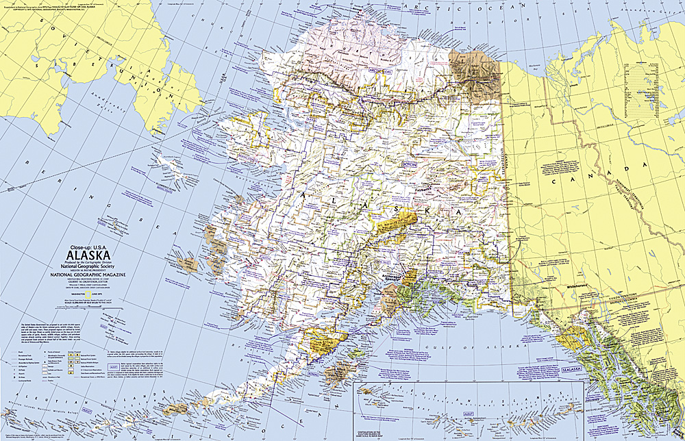 Closeup USA Alaska Map
