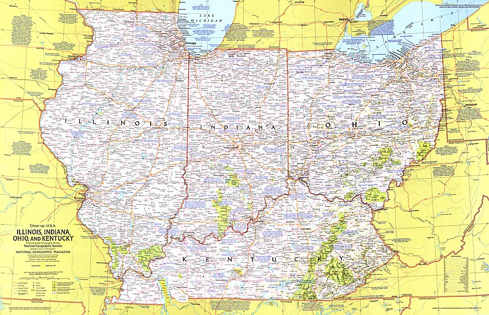 Closeup USA Illinois Indiana Ohio Kentucky - Indiana on map of usa