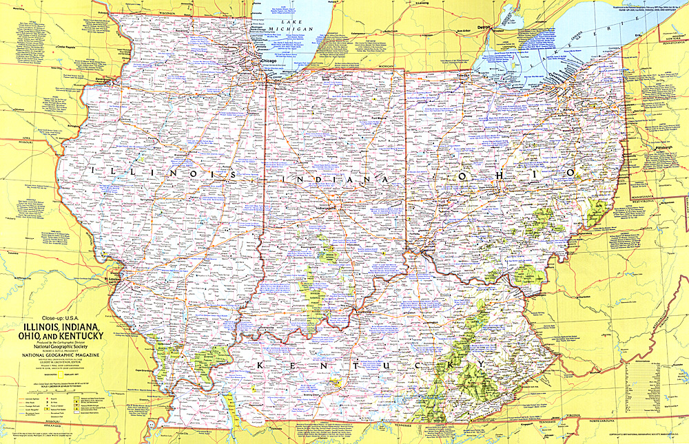Closeup USA Illinois Indiana Ohio Kentucky - Illinois on the map of usa