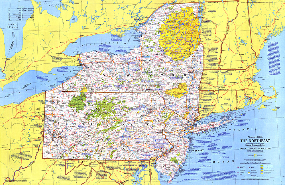 Closeup USA Northeast Map - Usa map images