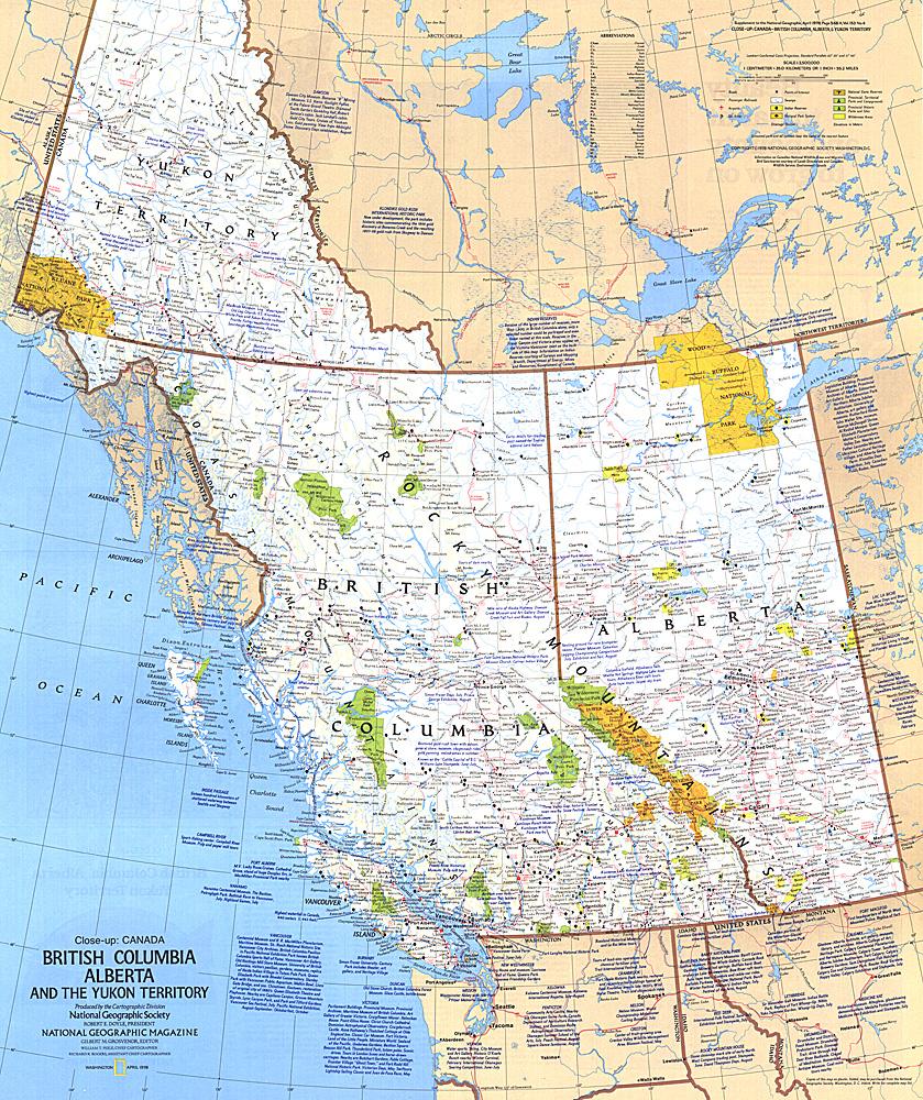 British Columbia Alberta And The Yukon Territory Map - Yukon map