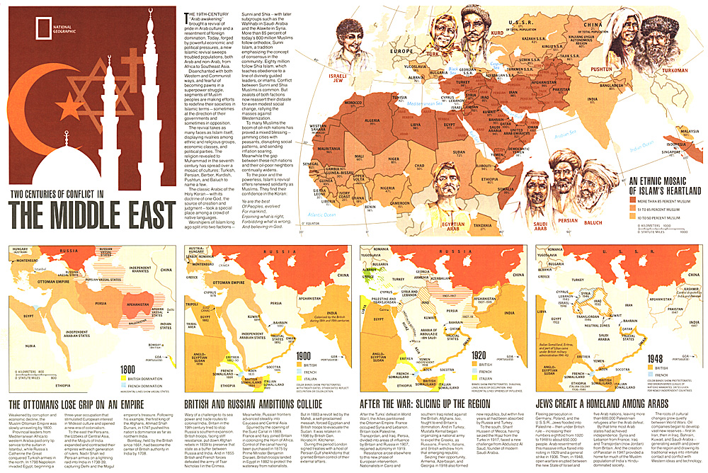 Two Centuries of Conflict in the Middle East Map
