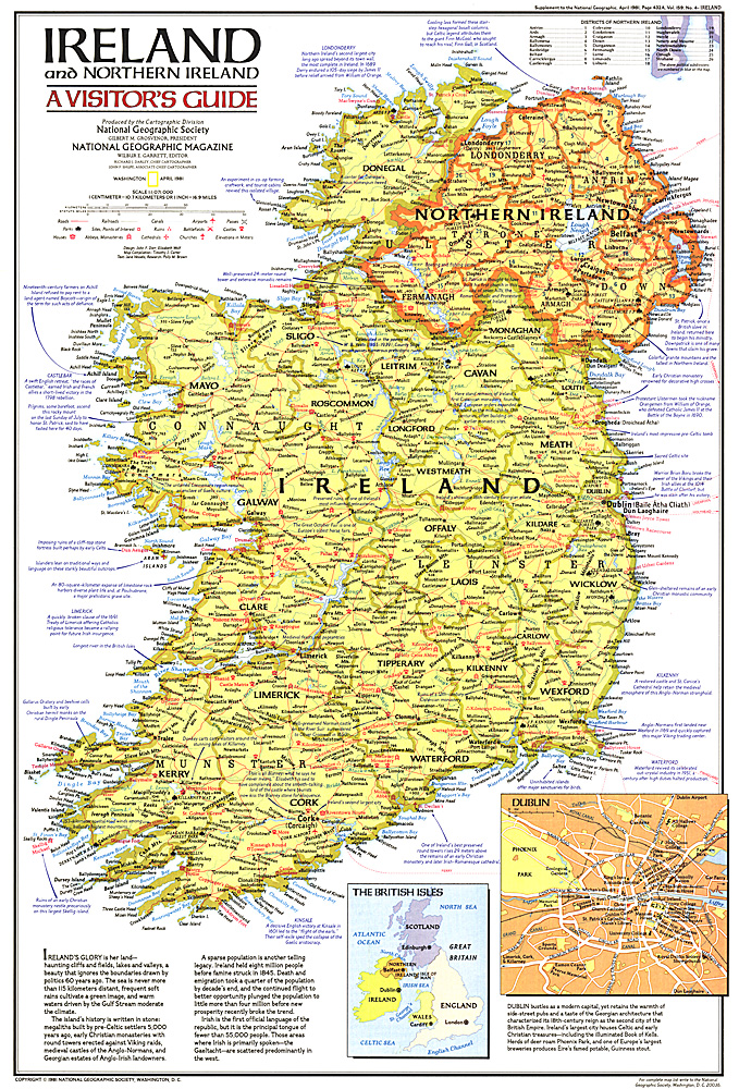 Ireland And Northern Ireland Visitors Guide Map - Northern ireland map