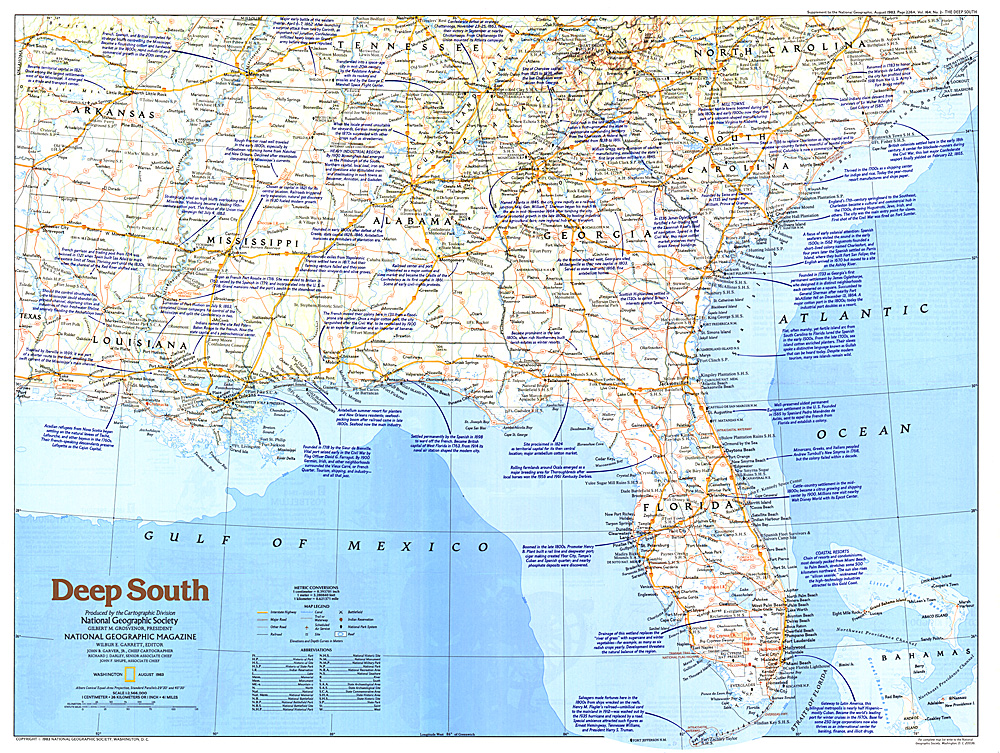 Deep South Map - Detailed map of us