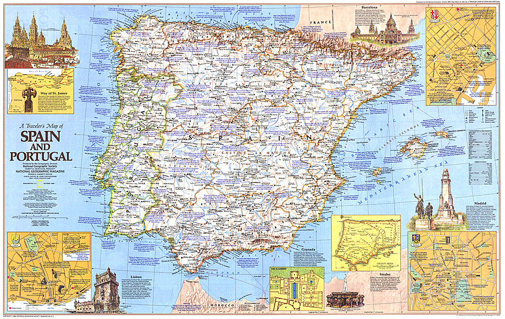 Travelers Map Of Spain And Portugal - Map of portugal spain