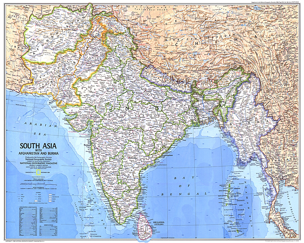 Asia With Afghanistan and Burma Map – Map South Asia
