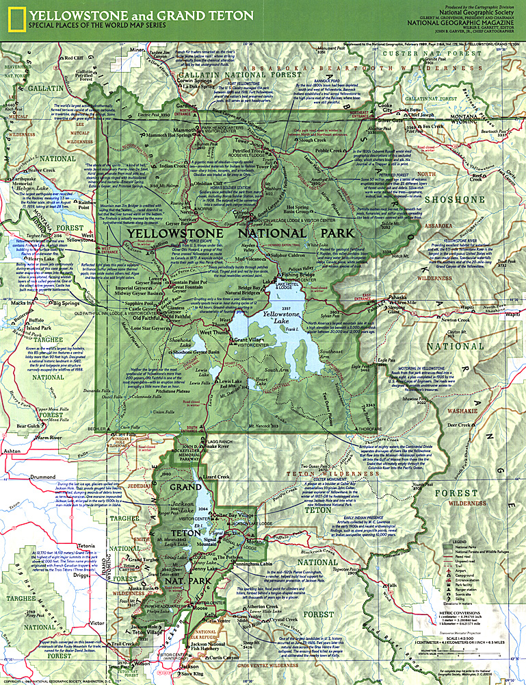 Yellowstone and Grand Teton Map Side 1