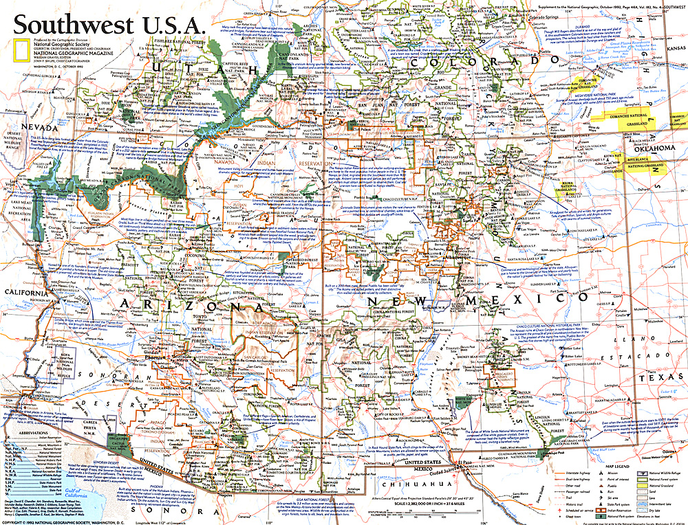 Southwest USA Map - Southwestern usa map