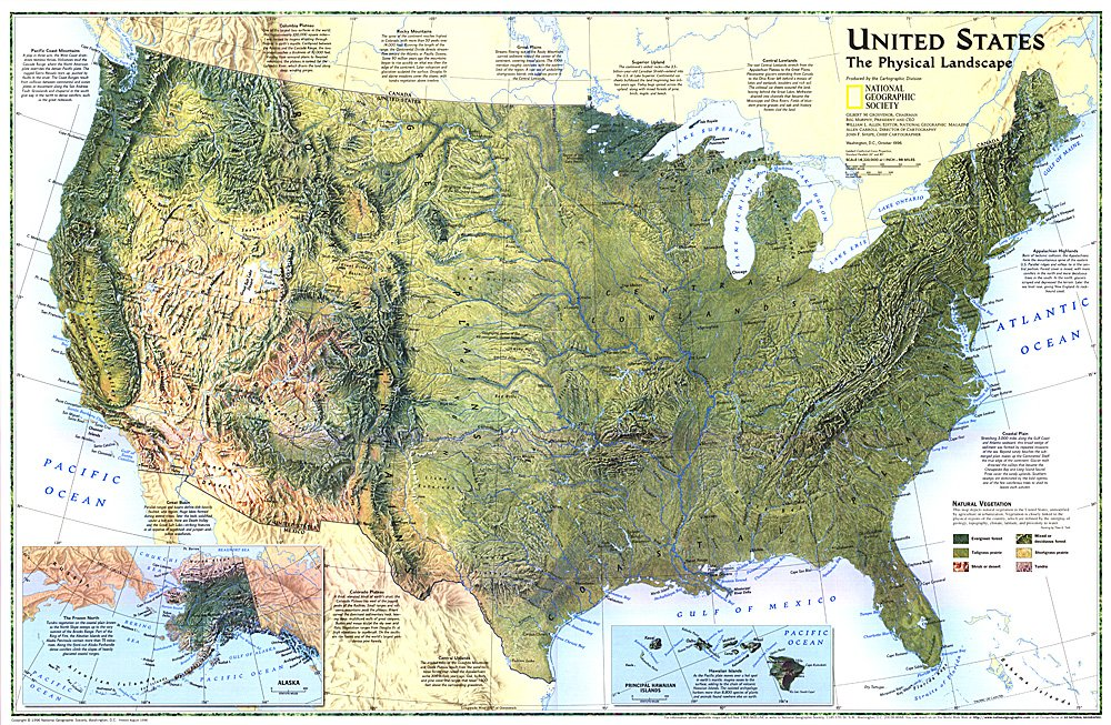United States The Physical Landscape Map - Map ofunited states