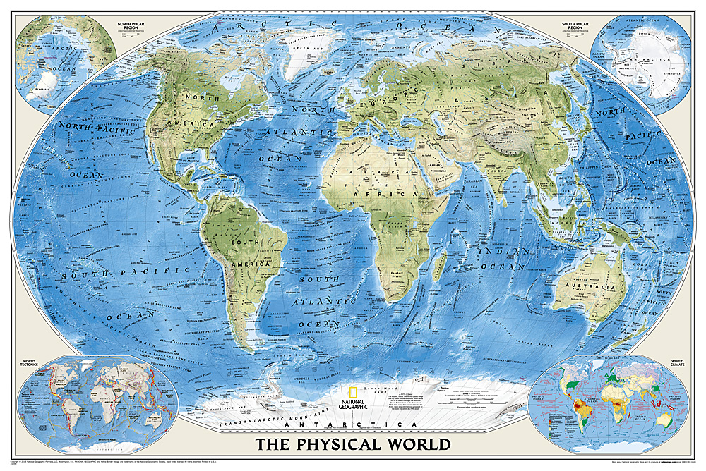 world physical enlarged and laminated