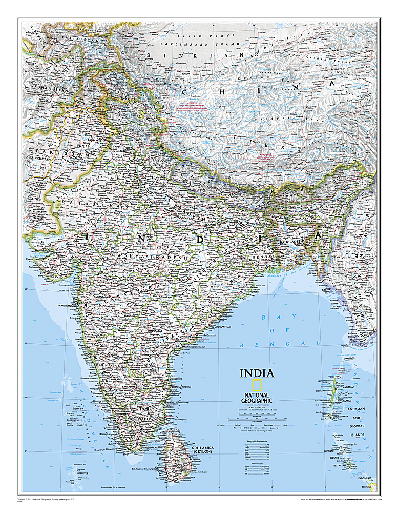 India Classic Laminated - National geographic political map