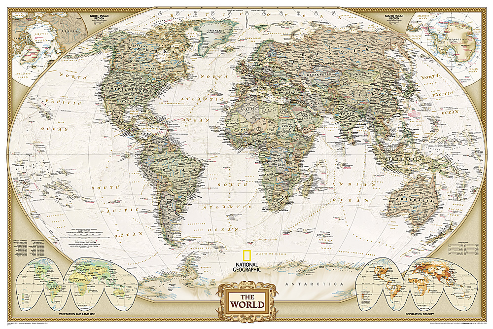 World Executive Poster Size - Us map with world map in the corner