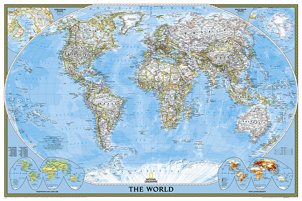 World Classic Poster Size And Laminated - World map poster