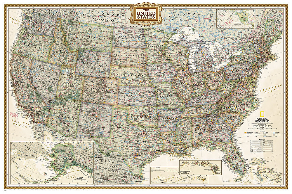 States Executive Poster Size and Laminated – Travel Map Of The United States