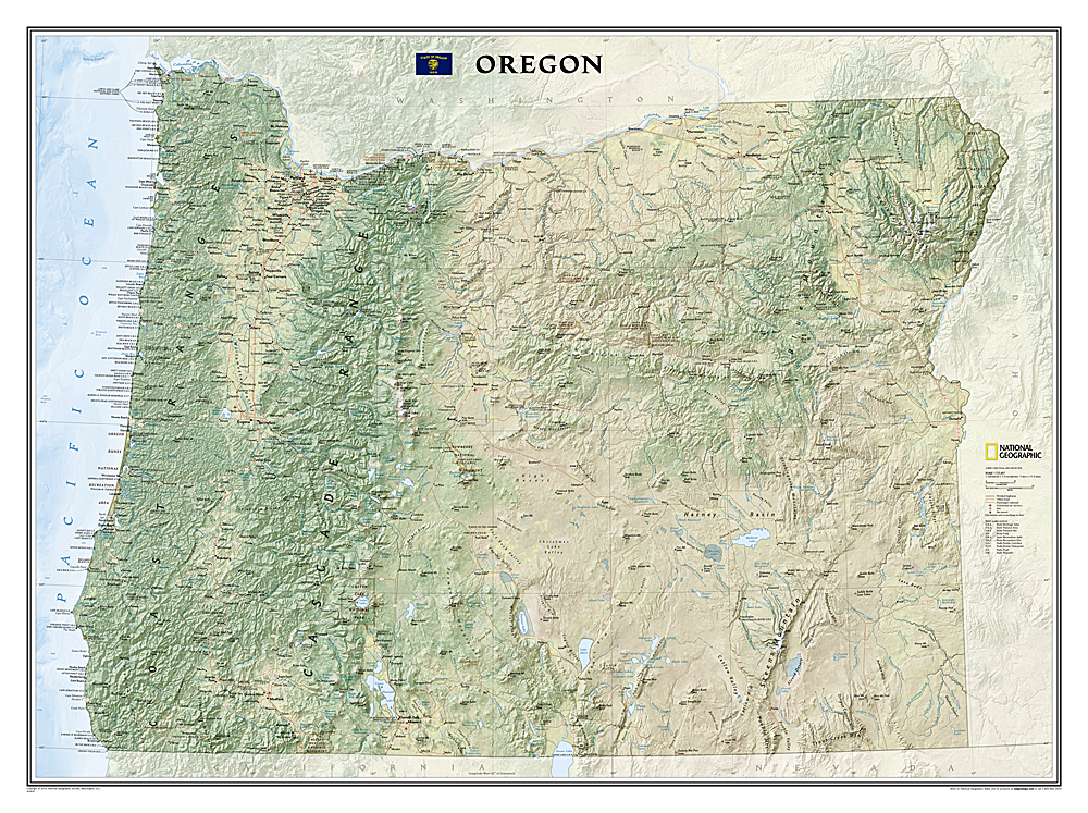 Oregon Laminated - Topographical map of oregon