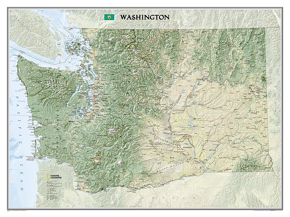Washington Laminated - Map of the state of washington