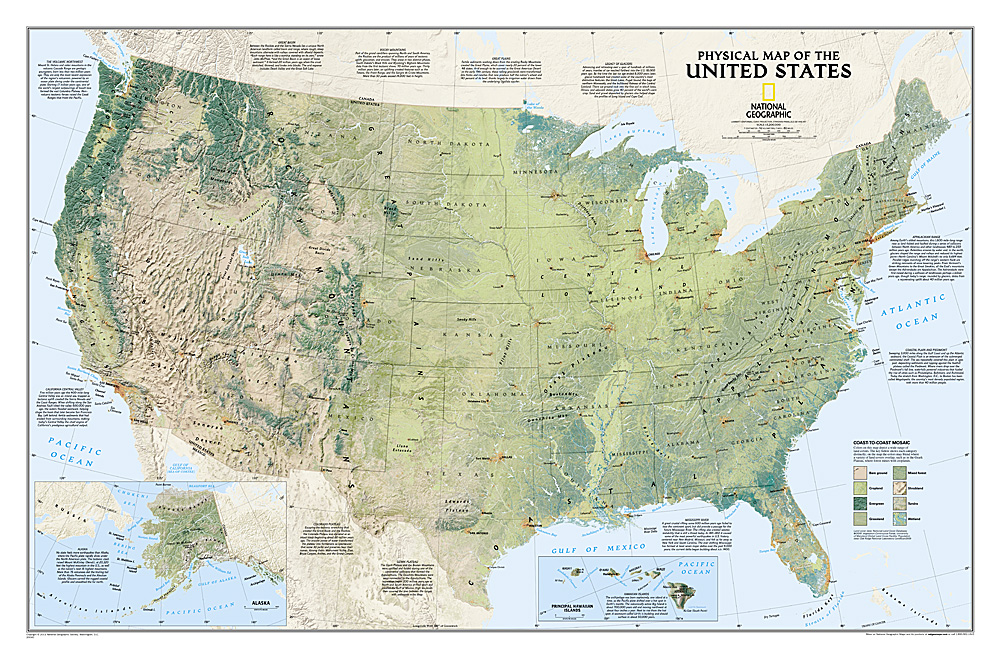 United States Physical Laminated - United state maps
