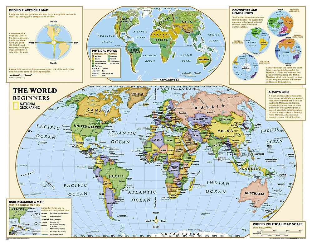 Kids Beginners World Education Grades K Laminated - Us wall map for kids