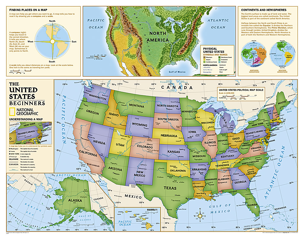 Kids Beginners USA Education Grades K Laminated - Maps united states