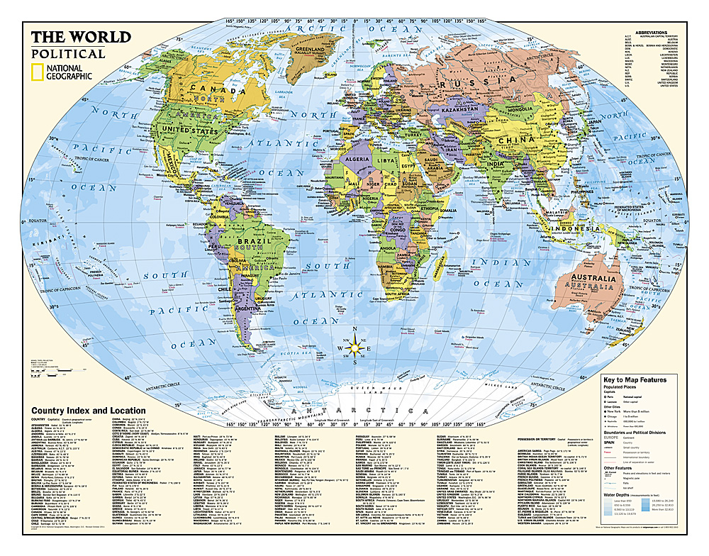 Kids Political World Education Grades Laminated - Political world map