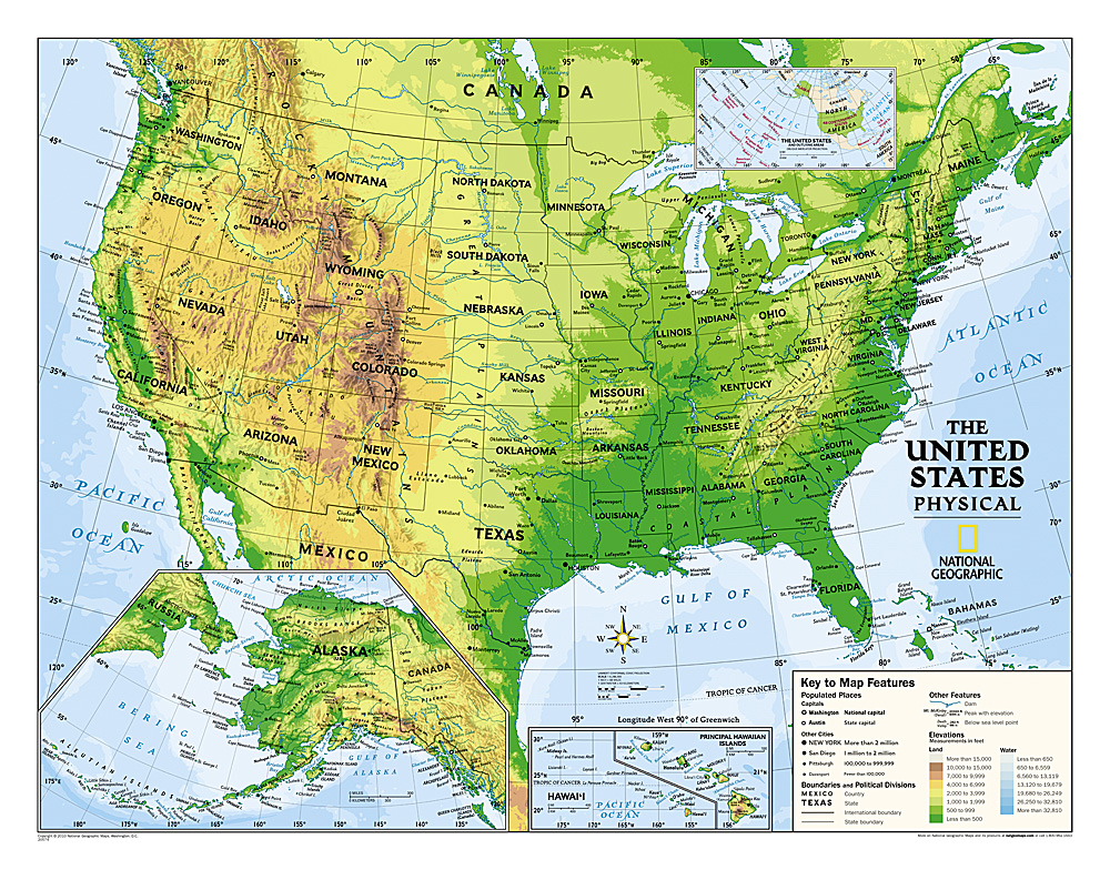 Kids Physical USA Education Grades Laminated - Physical map of usa