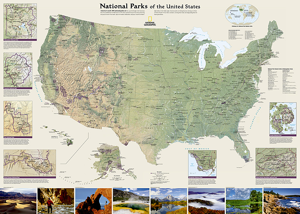 National Parks Of The United States Tubed - Usa map national parks