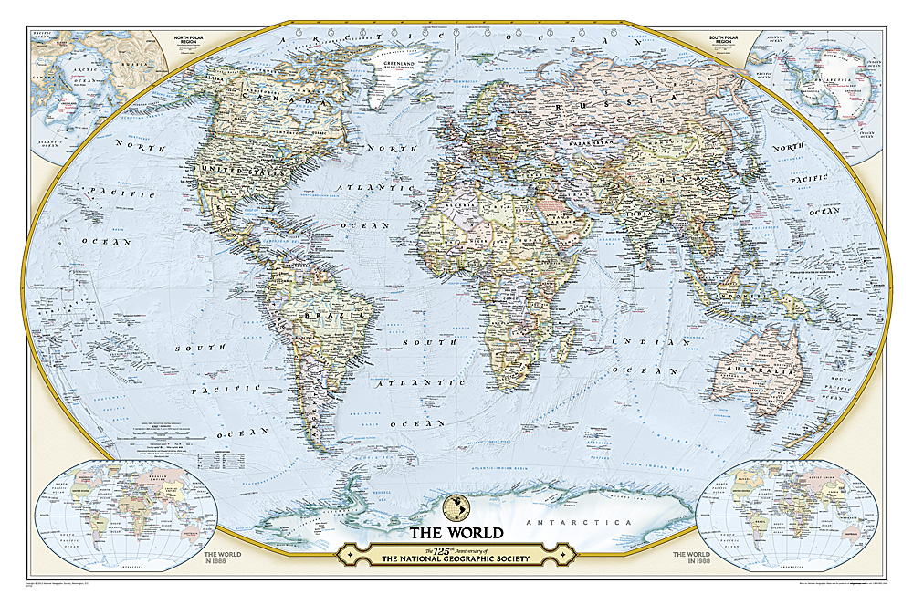 NGS Th Anniversary World Map - Flat map of the world