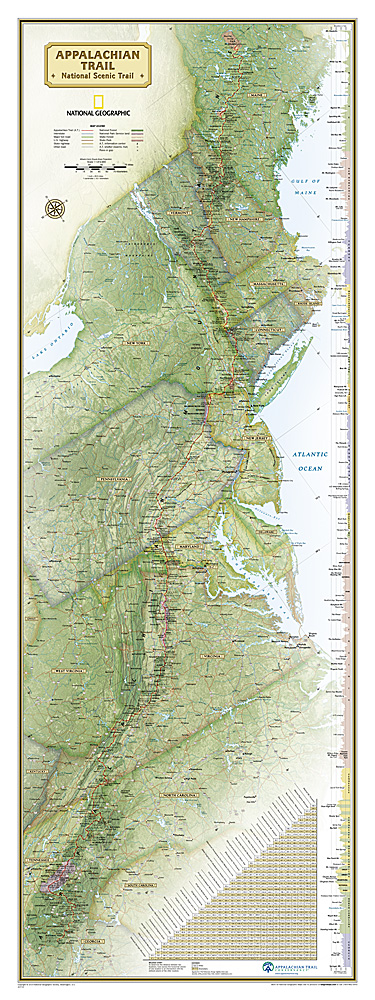Appalachian Trail Wall Map - Appalachian trail new hampshire map