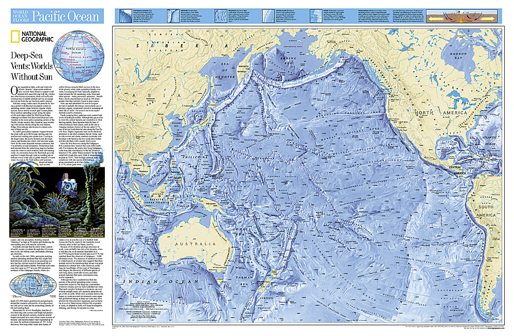 Pacific Ocean Floor Tubed - Us map and oceans