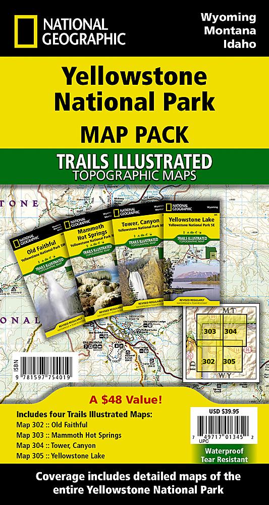 Yellowstone National Park Map Pack Bundle