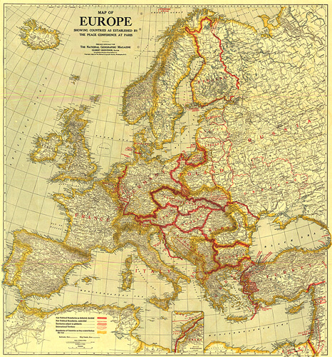 Paris On Europe Map.Map Of Europe Showing The Countries Established By The Peace