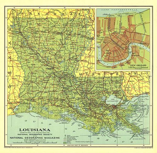 Geographic Map Of Louisiana.Louisiana Map