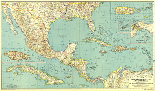 Mexico, Central America and the West Indies Map