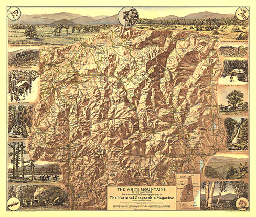 White Mountains of New Hampshire Map