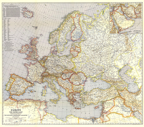 1940 Europe And The Near East Map