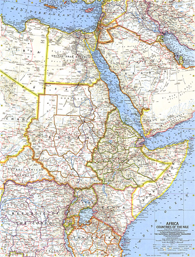 Africa, Countries of the Nile Map